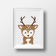 Deer Wall Art, Woodland Animal Print, Nursery Printable, Chevron Print, Nursery Animal Art, Cartoon Deer Art, Modern Nursery, Deer Art Print on Etsy, $5.00