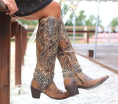 Washed Beaded Boots Diamonds