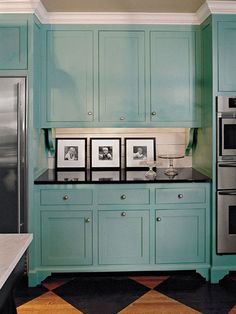 Cabinet Paint Colors: 7 Colorful Choices for the Kitchen Kitchen Cabinets - Turquoise Kitchen Cabinets