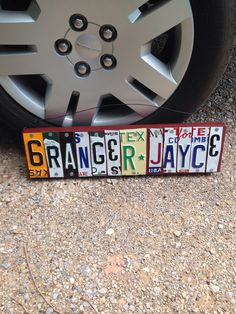 Custom made license plate sign for a little boy's room