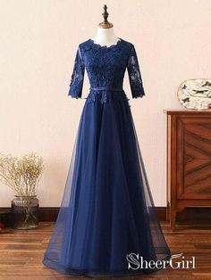 cd8063cdc08 Long Prom Dress Navy Blue Half Sleeve Lace Applique Formal Evening Dresses  2018 APD3261