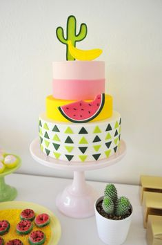 3 Tier Watermelon Cake. Bright and Colourful cake featuring geometric patterns, bananas and cacti.