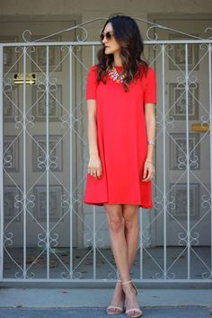 FRANKIE HEARTS FASHION: Fire Engine Red - asos short sleeve swing dress