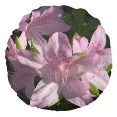 Pink Azaleas Round Pillow