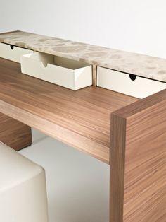 poliform desk design - Google Search Table Furniture, Office Furniture, Outdoor Furniture, Outdoor Decor, Low Cabinet, Secretary Desks, Wooden Desk, Walnut Wood, Dining Bench