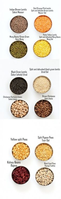 Dals and Legumes - Indian Dals Names in English and Hindi. Split Chickpeas (Chana Dal), Red Lentils (Masoor Dal), Petite Yellow Lentils (Mung Dal), Chickpea flour, Besan and more.