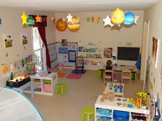 Whole Child Preschool: Our Daily Schedule Sample preschool schedule (designed for a group but could be adapted) Home Daycare Rooms, Toddler Daycare Rooms, Daycare Spaces, Childcare Rooms, Preschool Rooms, Toddler Classroom, Kids Daycare, Daycare Crafts, Preschool At Home