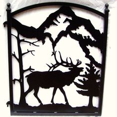 Iron Garden Fence Gate Elk Silhouette Metal Art on Etsy, $299.00