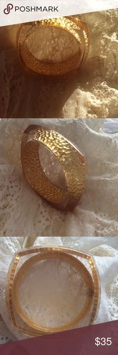 """Anthropologie Lucite Bangle Very pretty Anthropologie lucite bangle with gold leaf inside. The bangle is square around the outside and round inside. The bangle opening is 3"""". Excellent condition. Anthropologie Jewelry Bracelets"""