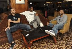 San Antonio Spurs trio of Stars, from left, Manu Ginobili, Tim Duncan and Tony Parker, speak with the Express-News at the Four Seasons Hotel in Houston on Wednesday, Oct. 6, 2010. BILLY CALZADA / gcalzada@express-news.net Photo: SAN ANTONIO EXPRESS-NEWS