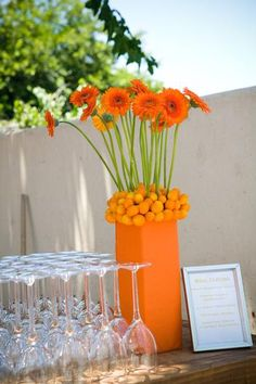 Hostess with the Mostess® - Whimsical Summer Birthday Soiree Wedding Reception Centerpieces, Flower Centerpieces, Table Centerpieces, Centerpiece Ideas, Wedding Receptions, Daisy Wedding, Orange Wedding, Wedding Flowers, Bday Flowers