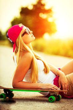 Skate girl is on relax.