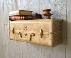 Vintage Ivory Samsonite Marbleized Upcycled Suitcase Luggage Wall Shelf  Repurposed Travel Inspired. $49.99, via Etsy.