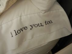 "Monogram or heat press bed pillows ""i love you"" ""i love you, too"""