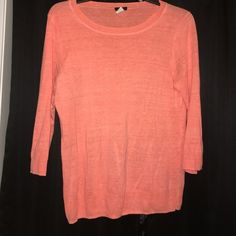 J.crew sweater 3/4 sleeve sweater, neon coral and very thin but not see through! I have worn it twice! J. Crew Sweaters Crew & Scoop Necks