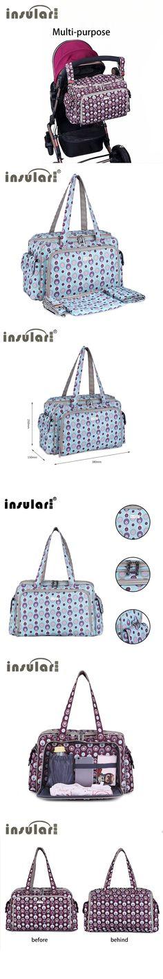 INSULAR Diaper Bag Large-Capacity Baby Bag With Inside Sack Zipper Cosmetic/Wash Bag Scarlet Printed Nylon Handheld Bag Portable
