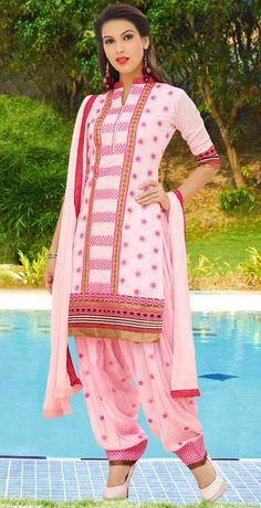 USD 32.90 Light Pink Cotton Punjabi Suit 48424