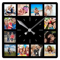 Custom 12 Instagram Family Photo Collage Square Wall Clock Create your own personalized Instagram family photo collage wall clock with your custom images. #clock #walldecor #personalized #customized #photos #collage #gifts