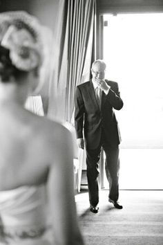 Daddy's reaction when first seeing his little girl in her dress! <3