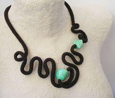 Wavy Crochet Necklace Free Form Brown Reseda