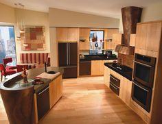 Jenn-Air - oil-bronzed appliances with light cabinets Farm Kitchen, Appliances, Kitchen Remodel, House Interior, Kitchen Dining Room, Kitchen Dining, Home Kitchens, Kitchen Appliances, Kitchen Design