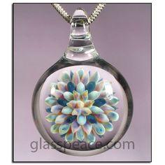 Lampwork Glass Sea Anemone Pendant   - Boro Necklace by Glass Peace $26.95