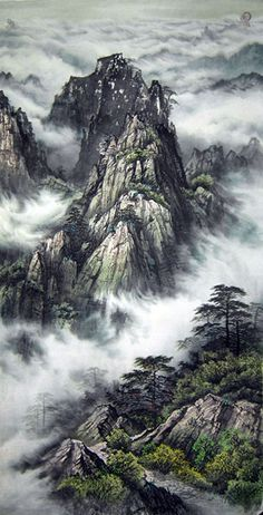Original Chinese Smoky Mountain Landscape Painting Wall Scroll : Chinese Calligraphy Art for Sale Online Asian Landscape, Chinese Landscape Painting, Japanese Landscape, Fantasy Landscape, Chinese Painting, Landscape Art, Landscape Paintings, Landscape Photography, Ink Paintings