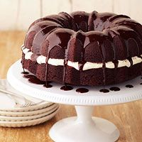 Whoopie Pie Cake - I would probably just use a box cake mix to make life easier and then do the cream filling and glaze this recipe gives. Yum!
