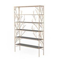 Autumn Shelf by Alvaro Uribe Design Copper Shelving, Tree Shelf, Shelf Design, Welding Projects, Tree Branches, Rose Gold Plates, Bookshelves, Connection, Snow White
