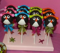 12 Penguin Cake Pops Party Favors Baby by SparklingSweetsShop