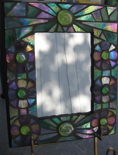 "Iridescent Emerald Green & Purple Stained Glass Mosaic Glass Mirror Frame 11 1/4"" x 9 1/4"""