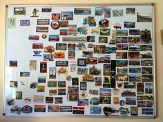 Travel magnet board - for the last couple of years we have been collecting souvenir fridge magnets from places we've visited. Instead of having them messily cluttering the fridge, I got the magnetic whiteboard to display them #travel #souvenirs
