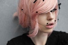 pink hair and birdcage veil. doesn't get any better than that!