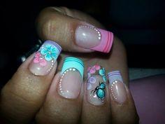 Uñas Short Nail Designs, Nail Art Designs, Pedicure Designs, Manicure Ideas, Spring Nails, Summer Nails, Easter Nail Designs, Space Nails, Easter Nails