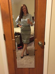 "STITCHFIX #3- Renee C Melisa Mized Geo Print Pencil Skirt. this is a great pencil skirt! i love the Patten! its a thick  jersey material which i was initially skeptical of but it was comfportable and I held its shape perfectly even after a day of sitting at a computer. i paired it with a J Crew necklace and a chambray Shirt. this outfit felt particularity ""Pintresty"" to me. that's a real adjective right? maybe its the ""look down"" pose...."