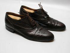 e290789f658c5 Wens Mens Genuine Lizard Skin Size 12 Dress Cap Toe Oxfords Shoes Brown   Wens