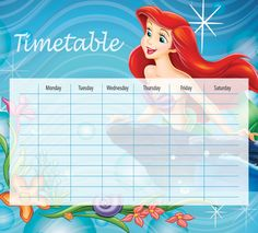 The Little Mermaid Timetables 01 Timetable Planner, School Timetable, Little Mermaid Movies, Ariel The Little Mermaid, Preschool Weather Chart, Disney Calendar, Adding And Subtracting Integers, Classroom Charts, Kids Planner
