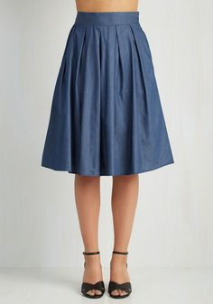 Snapshot of Saturday Skirt. To get a handle on exactly how lovely your weekends tend to be, onlookers need only to glimpse at your chambray skirt! #blue #modcloth