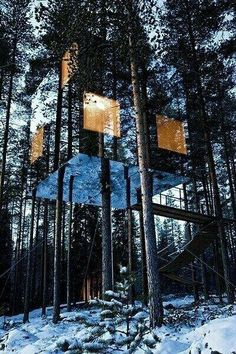 Casa en el arbol construida con espejos , En Suecia . . .   //  Mirrored tree house in Sweden