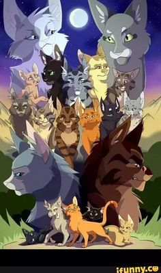Warrior cats Top: Omen of the Stars Second to top: Power of three Second to bottom: The new Prophecy: Bottom: The prophecies begin