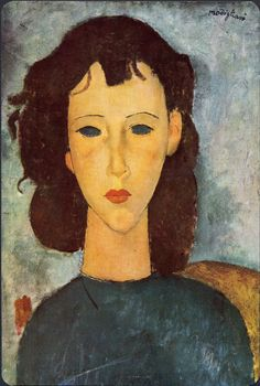Amédéo Modigliani - Artist XXème - Modern Art - Portrait of a Girl, 1917 Amedeo Modigliani, Modigliani Paintings, Italian Painters, Italian Artist, Mondrian, Renoir, Famous Artists, Oeuvre D'art, Painting & Drawing
