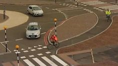 Dutch roundabouts giving cyclists priority