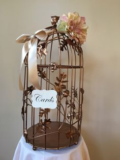 A personal favorite from my Etsy shop https://www.etsy.com/listing/462069684/gold-birdcage-wedding-card-holder