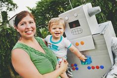 Homemade Robot Costume for baby's First Birthday party.