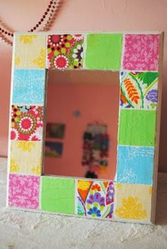 Modge Podge Fabric Picture Frame