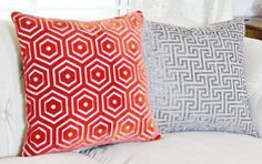 Jonathan Adler Pillow Cover  Modern Red Pink by MotifPillows