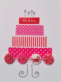 A cute card for any occasion where cake is required. Made from washi and adorned with buttons. Washi Tape Cards, Washi Tape Diy, Cute Cards, Diy Cards, Scrapbook Cards, Scrapbooking, Tape Crafts, Handmade Birthday Cards, Paper Cards