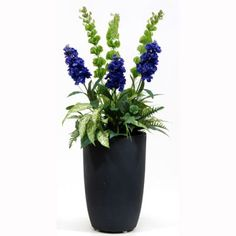 "Buy Artificial 3ft 6"" Blue Stock and Mixed Foliage Display in Black Plastic Planter - Artificial Silk Plant & Artificial Tree Range Ready Made Flowering Plant Displays from Artplants.co.uk"