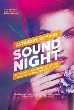 Download the Sound Night Party Free Flyer Template! Dj Party, Party Flyer, Free Psd Flyer Templates, Poster Templates, Advert Design, Event Poster Design, Party Poster, Photoshop Tutorial, Photoshop Actions