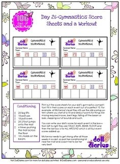 Free printable gymnastics score cards for dolls - part of DollDiaries.com 100 Days of Doll Play